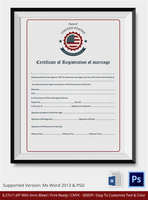 marriage certificate templates sample templates