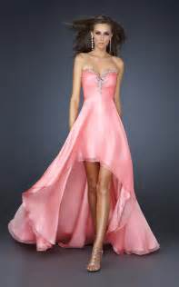 hi low bridesmaid dresses la femme 17585 strapless high low dress for prom stylecaster