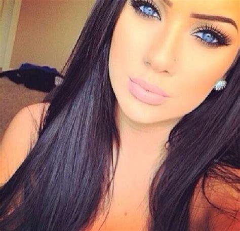black hair crystal blue eyes  heart  girl beauty