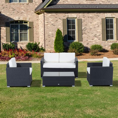 outsunny patio furniture outsunny 4pc outdoor rattan sofa patio furniture set