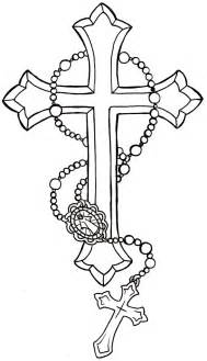 Drawings of Crosses with Rosary