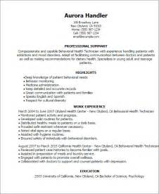 mental health resume exles professional behavioral health technician templates to showcase your talent myperfectresume