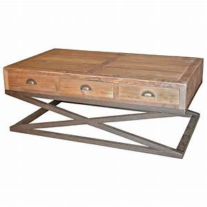 hansen industrial loft reclaimed wood metal base drawers With reclaimed wood coffee table with drawers