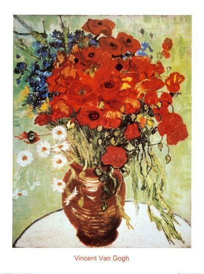 Vase With Poppies Vincent Gogh by Vase With Daisies And Poppies Print By Vincent