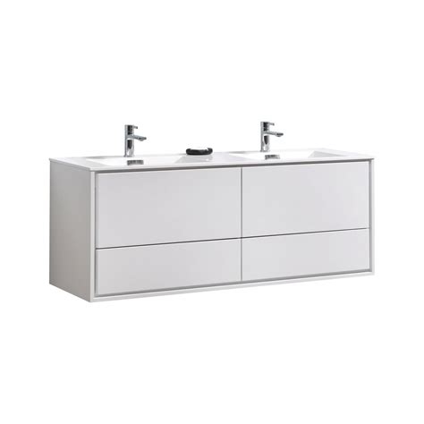 de lusso  double sink high glossy white wall mount