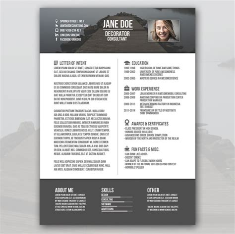 Free Unique Resume Designs by Creative Resume Templates Free Gfyork
