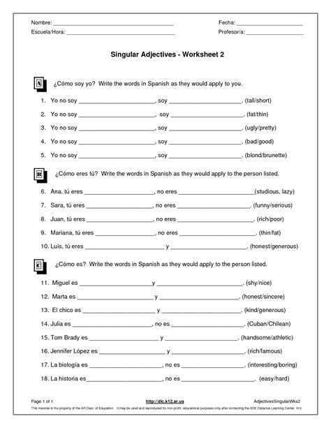 15 best images of possessive adjectives worksheet