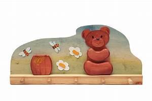 Porte Manteau Bébé : porte manteau b b l 39 ourson et son pot de miel en bois ~ Melissatoandfro.com Idées de Décoration