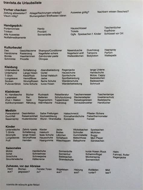 die praktische urlaubs checkliste einfach ausdrucken