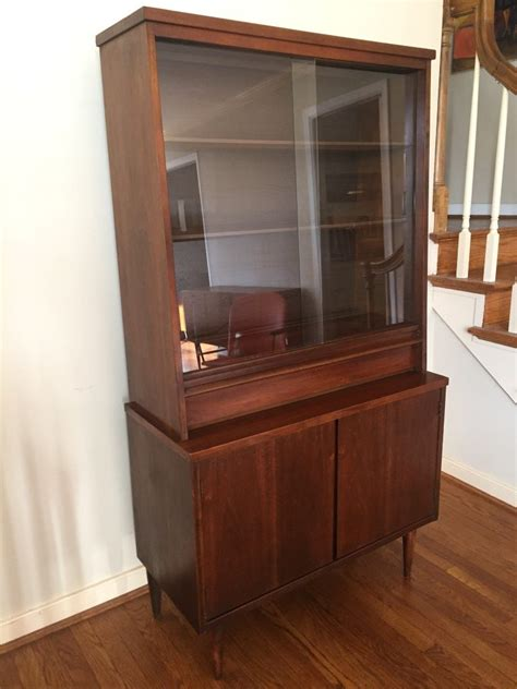 image of mid century modern bookcase mid century modern walnut china cabinet by bassett