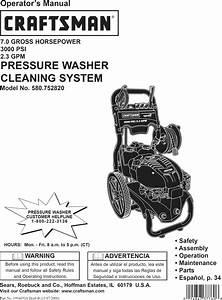 Craftsman 580752820 User Manual Pressure Washer Manuals
