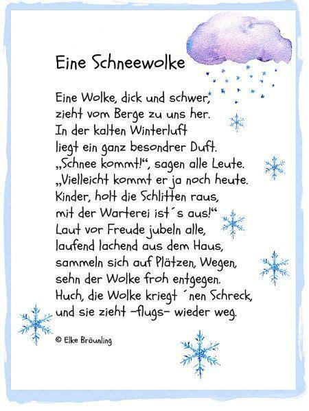 eine schneewolke wintergedicht kita gedicht winter