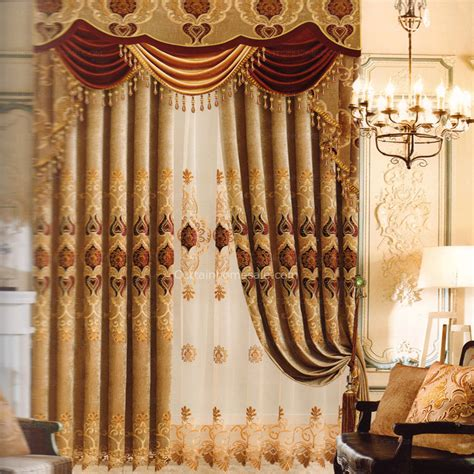 affordable brown jacquard chenille blackout thermal curtains