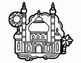 Taj Mahal Coloring Pages Coloringcrew Rural Landscape Landscapes Dibujo sketch template