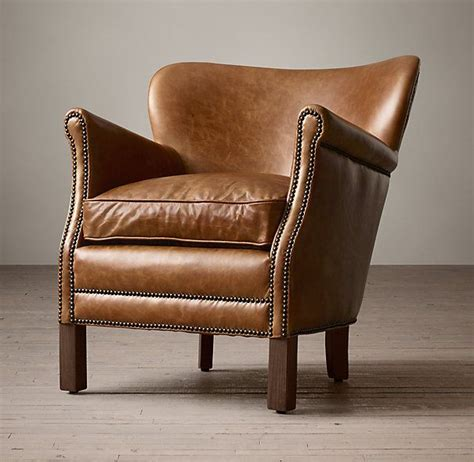 professor s leather chair with nailheads in brompton