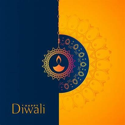 Diwali Background Happy Yellow Cards Deepavali Festival