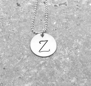 large initial necklace letter z necklace sterling silver With large initial letter necklace