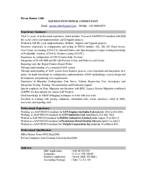 sap mm functional consultant resume india