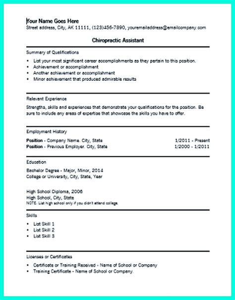 Chiropractic Assistant Resume Sle by In Chiropractic Assistant Resume Chiropractic Assistant