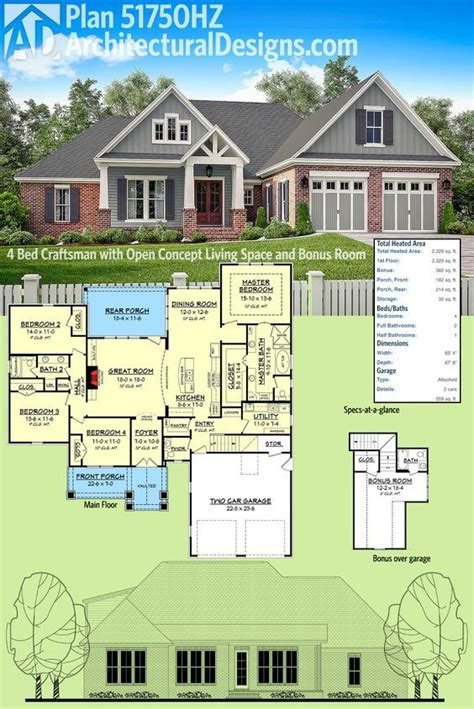 Plan 51750HZ: 4 Bed Craftsman with Open Concept Living
