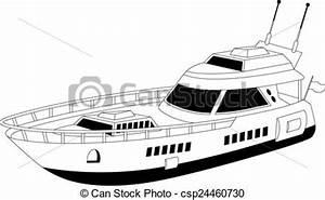 Luxury Yacht Vector - Instant Download - csp24460730
