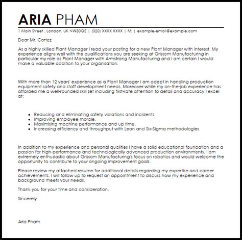 plant manager cover letter sample cover letter templates