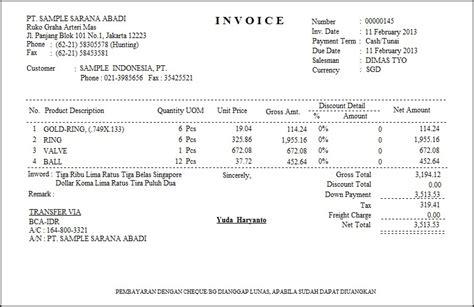 contoh surat resmi contoh invoice pembayaran sederhana
