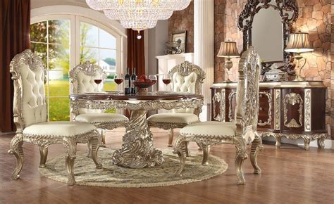 HD8017 Antique White finish Dining Set Round Table Homey