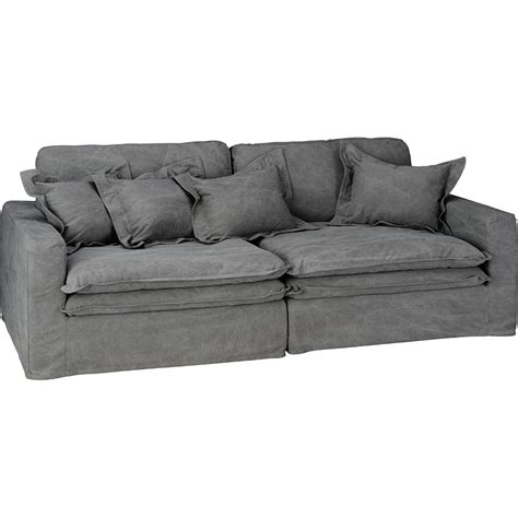 Settee Loveseat by Slouch Sofa Vintage Grey Cotton