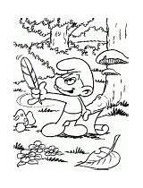 Smurf Coloring Poet Postman sketch template