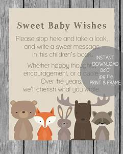 Printable Baby Wishes Book Sign - Woodland Animals Theme