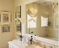 window treatments for bathrooms Master bath with Crema Marfil marble and mirrored silk ...