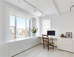 White, Minimalist, Home, Office, Workspace, Inspiration, With, White, Walls, Light, Hardwood, Floors, And, A