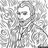 Coloring Portrait Gogh Vincent Famous Paintings Self Easy sketch template