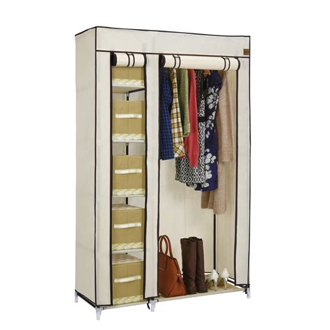 Cloth Storage Wardrobe by Vonhaus Canvas Effect Wardrobe Clothes Hanging Rail