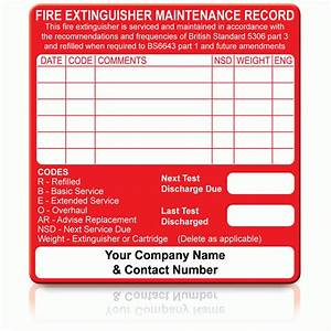 Buy personalised fire extinguisher maintenance labels for Fire extinguisher inspection tag template