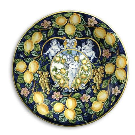Tuscan Decorative Wall Plates by Intrada Italy Large Wall Plate With Lemon Grapes 21 5 Quot D