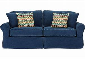 Cindy crawford home sunny isles blue sofa sofas blue for Cindy crawford furniture replacement slipcovers