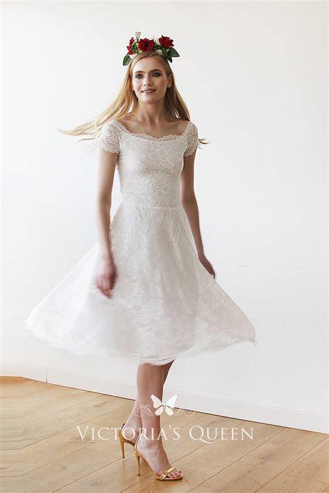 modest short sleeve short white lace scalloped scoop