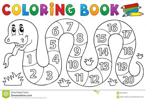 Coloring Book Snake With Numbers Theme Stock Vector