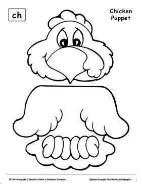 The Sound Ch: Chicken Puppet | Printable Cut, Pastes, Arts