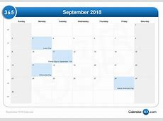 September 2018 Calendar With Holidays 2018 calendar