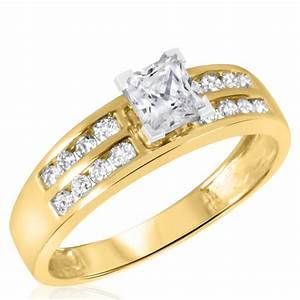 1 ct tw diamond women39s bridal wedding ring set 14k With ladies wedding rings gold