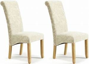 Serene Kingston Cream Floral Fabric Dining Chair with Oak