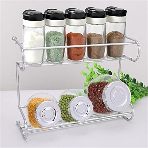 Spice Rack Countertop by Spice Rack 2 Tier Silver Kitchen Countertop Storage