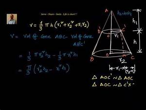 Volume Of Frustum Of A Cone - Derivation