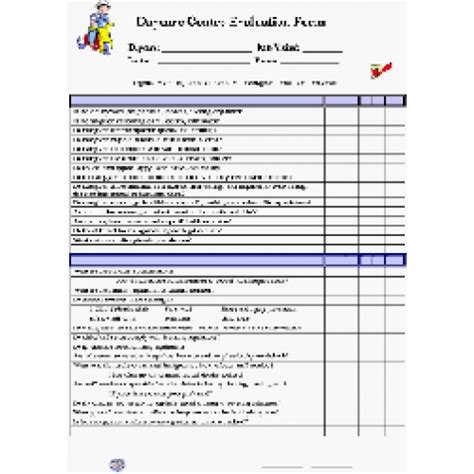 preschool staff evaluation form daycare centre evaluation checklist 308
