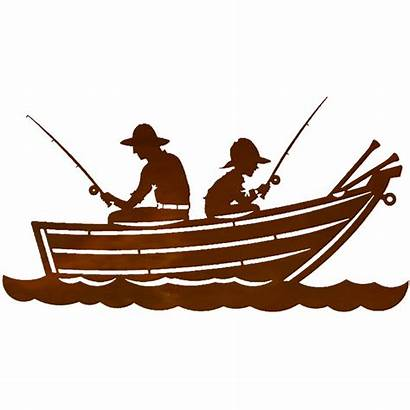 Boat Silhouette Row Clipart Fishing Metal Boaters