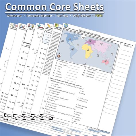 commoncoresheets a great resource for math science language arts and social studies