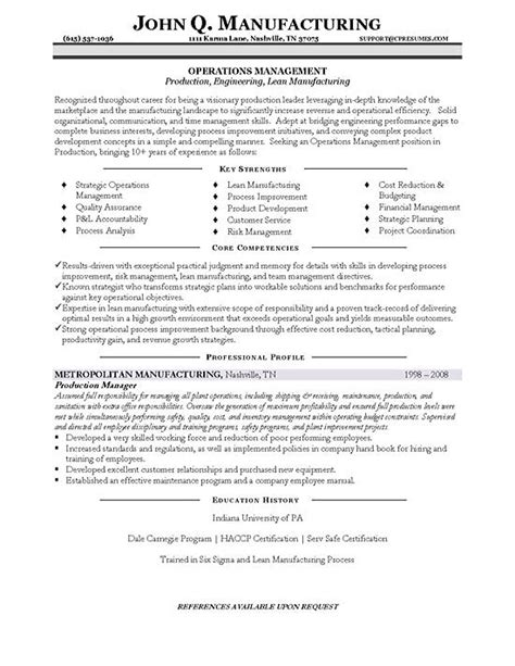 Cv examples see perfect cv samples that get jobs. Production Manager Resume Example